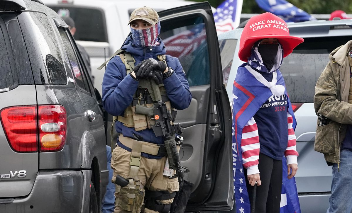 Armed pro-Trump protesters refuse to accept election results, rally outside Oregon state capital