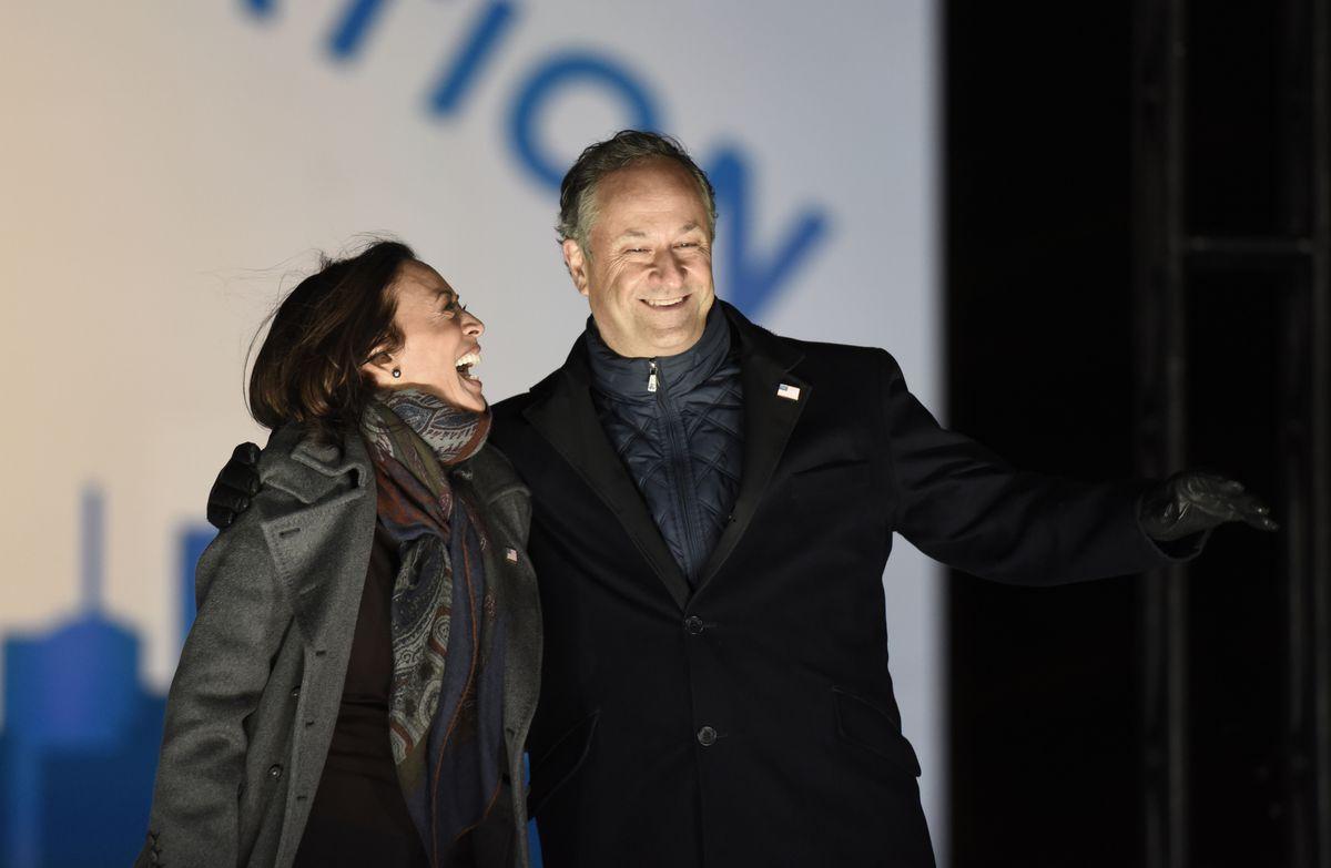 Doug Emhoff, husband of Kamala Harris, celebrates his wife's ascension to vice presidency