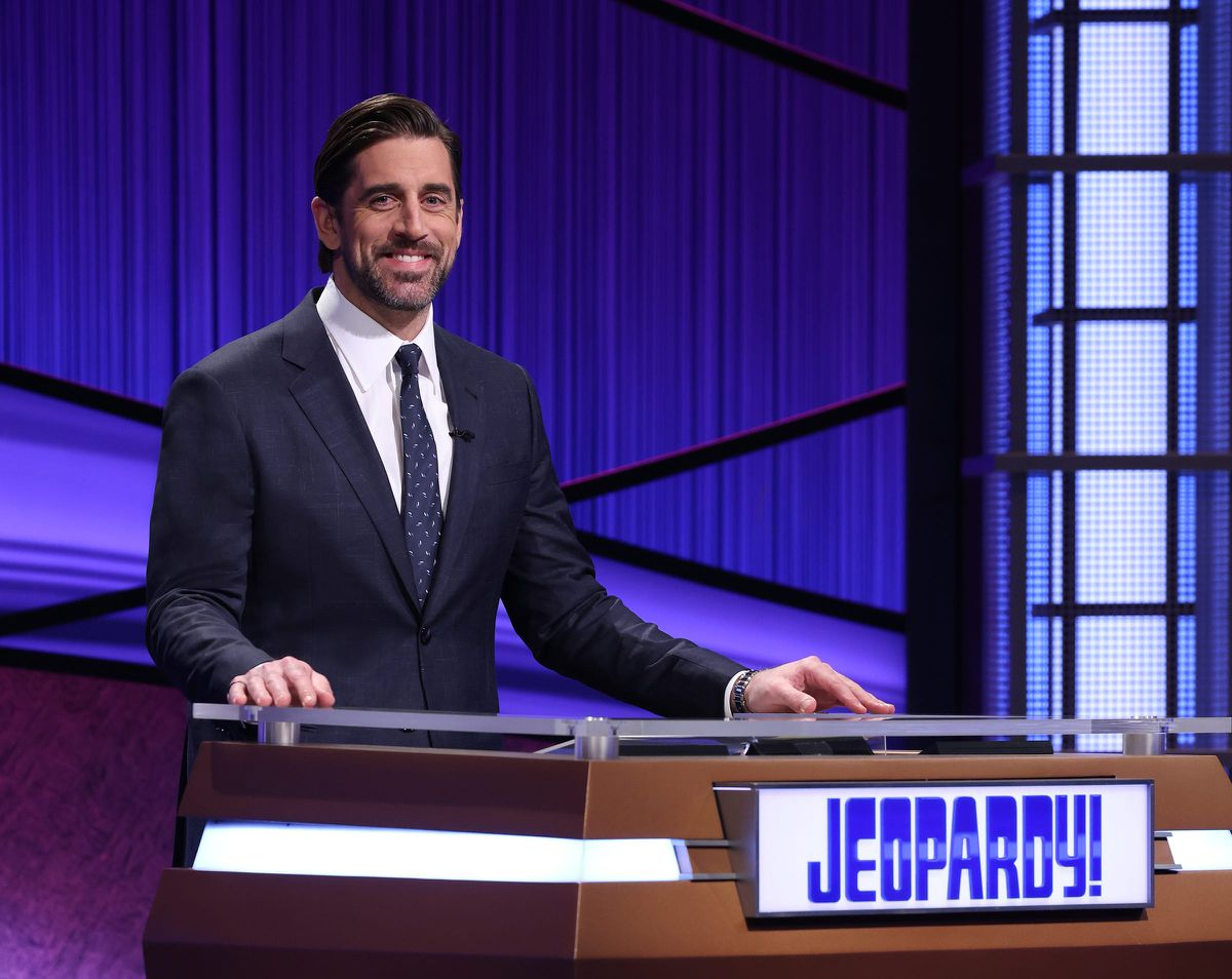 Aaron Rodgers sacked from the blindside while hosting 'Jeopardy'